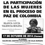 Aranda de Duero, 17/10: La participación de las mujeres en el proceso de paz de Colombia