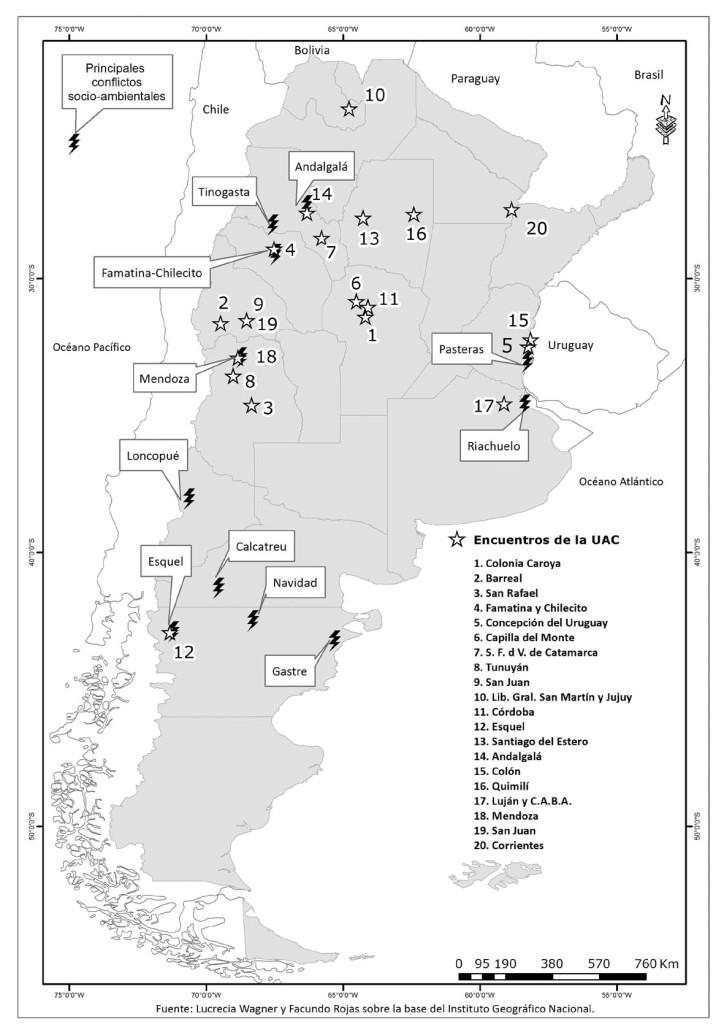Mapa de conflictos en Argentina y encuentros UAC. (Para ampliar, pinchar en la imagen).