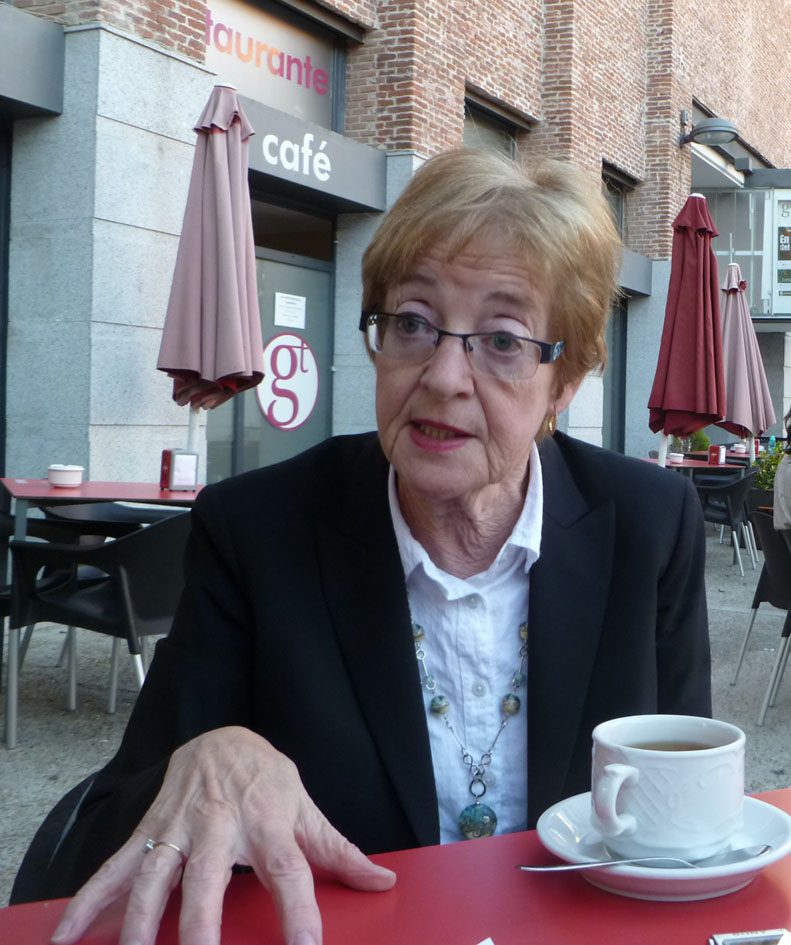 Maude Barlow durante la entrevista en Madrid. Fotografiada por Erika González.