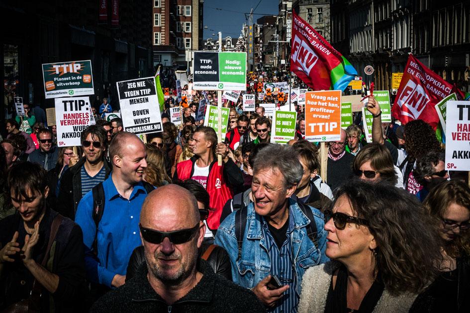 Movilización en contra del TTIP en Amsterdam. Fotografía de Daniel Chávez.