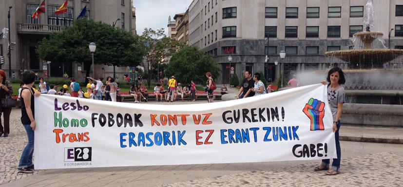 Manifestación el 28 de junio, día internacional por las libertades sexuales, Bilbao (2015). Fotografía de Lala Mujika.